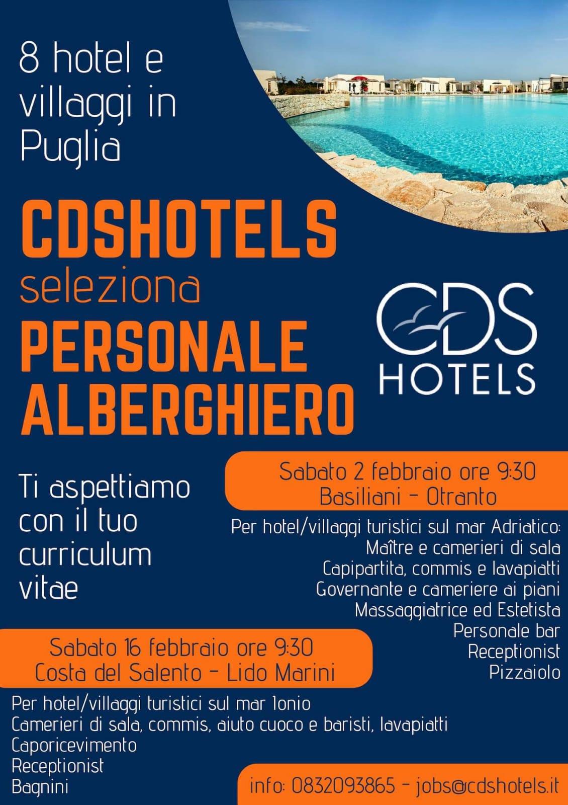 CDSHotels SELEZIONA PERSONALE ALBERGHIERO