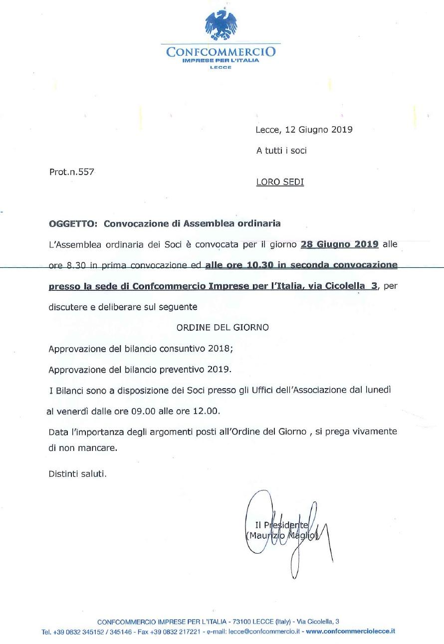 CONVOCAZIONE ASSEMBLEA ORDINARIA 2019