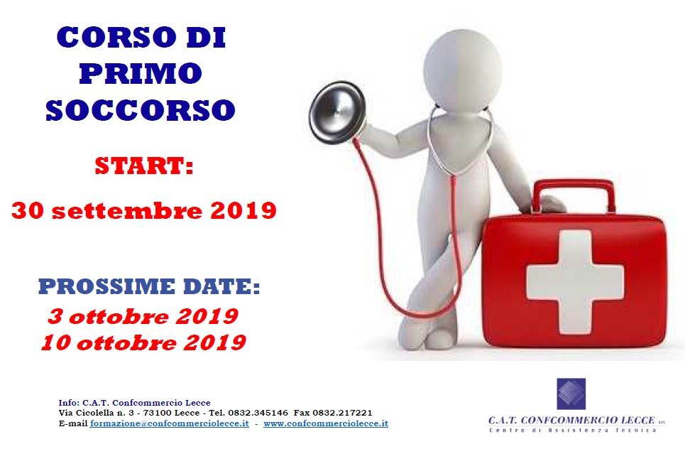 CORSO DI PRIMO SOCCORSO - START: LUNEDI' 30 settembre 2019
