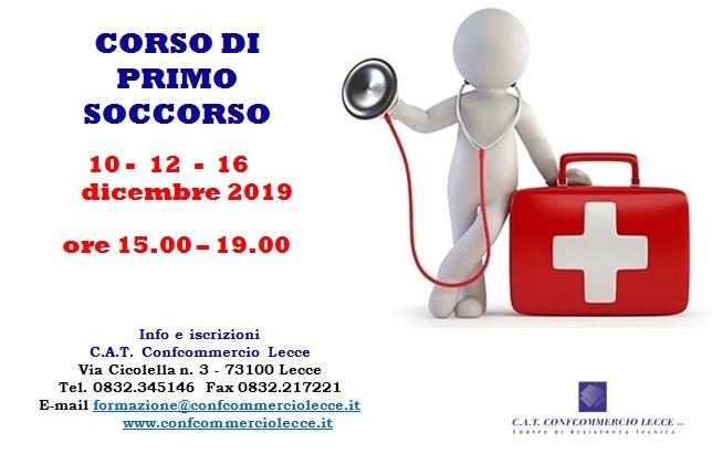 CORSO DI PRIMO SOCCORSO - START: MARTEDI' 10 DICEMBRE 2019