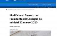 25/3/2020 - Modifiche al Decreto del Presidente del Consiglio dei ministri 22 marzo 2020