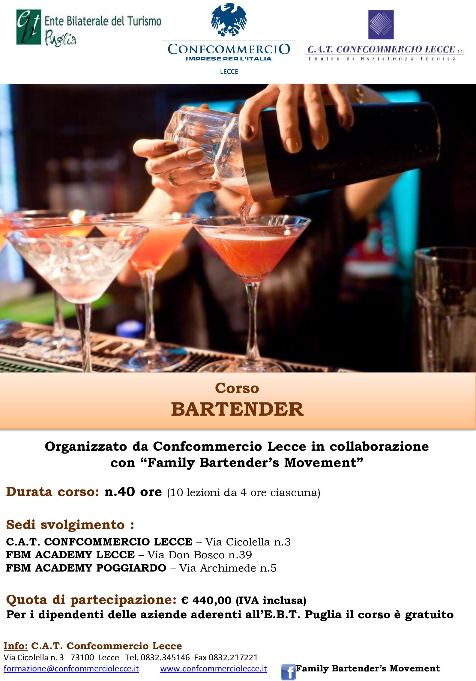 Corso per BARTENDER- 2 nuove edizioni - Start 7 Giugno 2021 a Lecce e Poggiardo